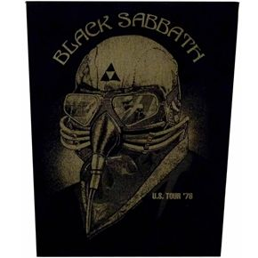 "Official sew on Black Sabbath back patch. Size approx 28.5cm (11.5"") wide at top x 36cm (14"") length."