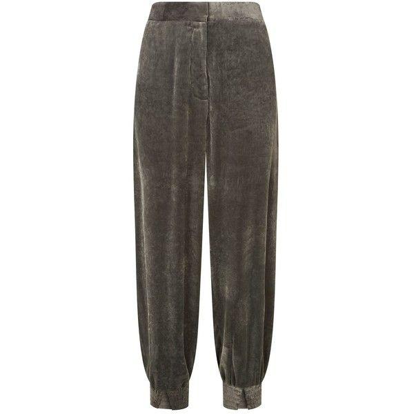 Stella McCartney Velvet Farah Trousers ($805) ❤ liked on Polyvore featuring pants, velvet pants, tapered trousers, elastic-cuff pants, elastic ankle pants and stella mccartney pants