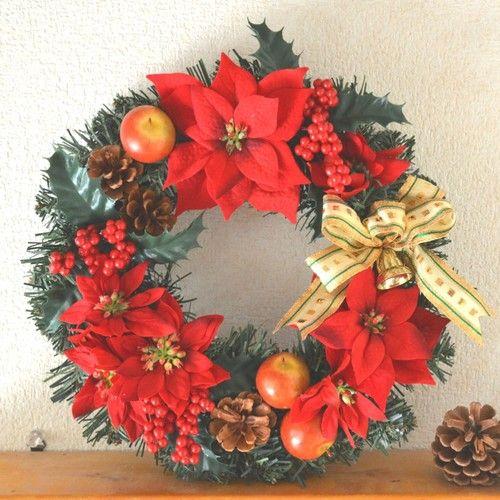 クリスマスリース*ポインセチア&ヒイラギ