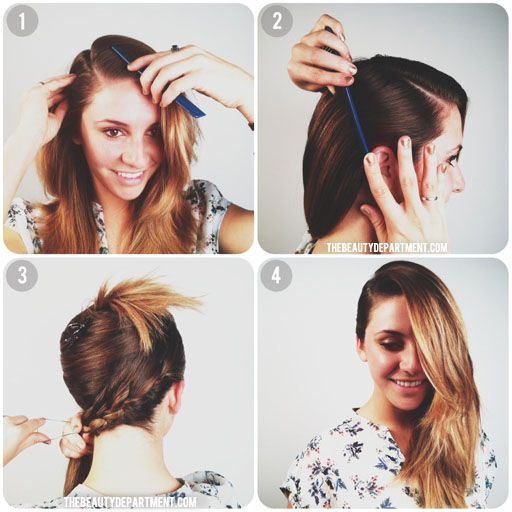 Super deep side part. They use a hidden braid in the back to keep one side of the hair slick and to the scalp.