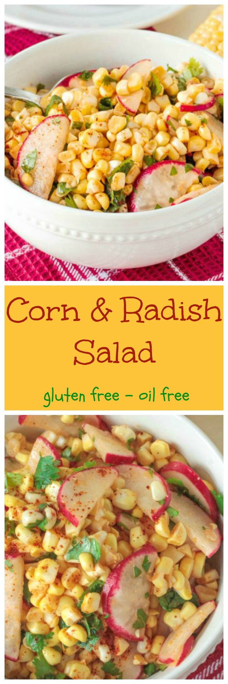 Raw Corn & Radish Salad - super simple with only a few ingredients, this is the perfect salad for any BBQ, picnic, potluck or party!
