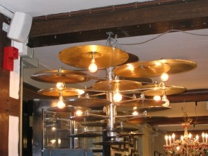 DIY Cymbal Lights.. so great for Rob's future 'Man Cave'