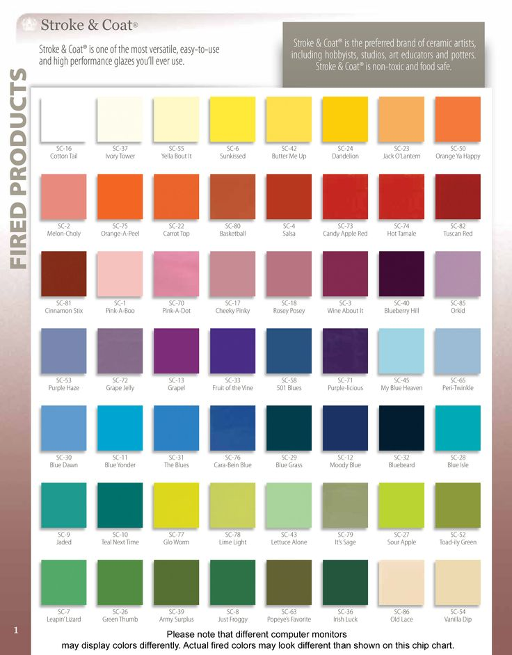nice coat colour chart image: 14 best color charts glaze lines we carry or can special order