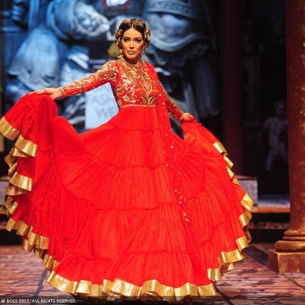 Miss Universe Canada Sahar Biniaz walks the ramp for designer Suneet Varma on Day 5 of the India Bridal Fashion Week (IBFW) 2013, held in New Delhi.Miss Universe Canada Sahar Biniaz walks the ramp for designer Suneet Varma on Day 5 of the India Bridal Fashion Week (IBFW) 2013, held in New Delhi.