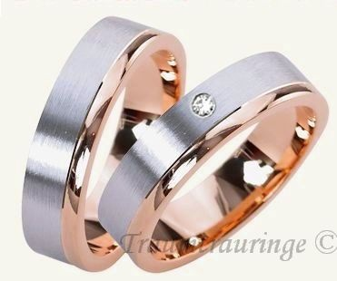Trauringe Eheringe 585 Rotgold-Weissgold Traumtrauringe