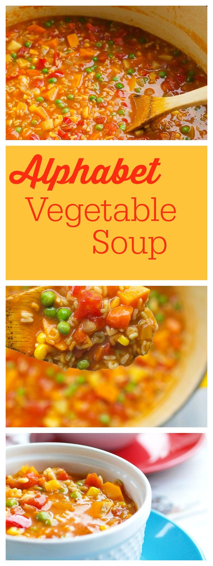 Baby it's cold outside--make soup! This homemade Alphabet Vegetable Soup is way better and healthier than Campbell's!  AND you can have this ready in about 40 minutes! Use whatever vegetables and whole grain pasta shape you have on hand.