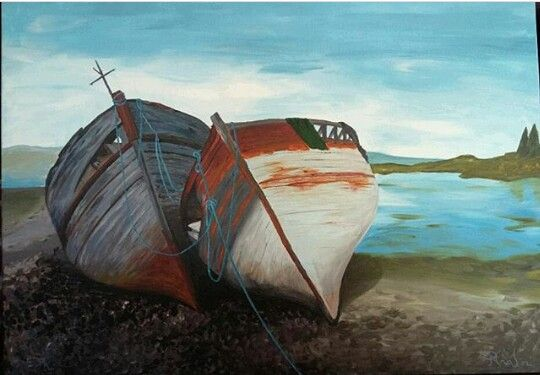Παλιές βάρκες  Ακριλικό σε καμβά  50×70