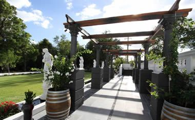 Balwyn Residential Garden: Supporting QLD based Landscape Architect Ted Maguire. Foliage spills out of wine barrels inviting a stroll through the arbour.