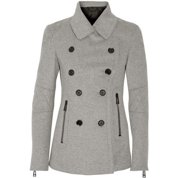 Belstaff - Hawthorne Wool And Cashmere-blend Coat (£375) ❤ liked on Polyvore featuring outerwear, coats, light gray, quilted moto jacket, double-breasted coat, light grey coat, rider jacket and belstaff coat