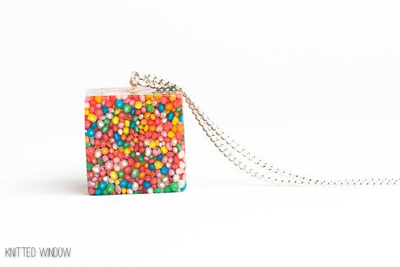 Sprinkles Cube Necklace Eco-friendly Candy 100's & 1000's Rainbow