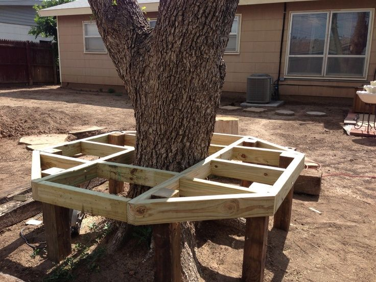 How To Build A Bench Around A Tree Trunk Google Search