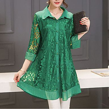 Women's+Casual/Daily+Street+chic+Summer+Blouse,Solid+Shirt+Collar+¾+Sleeve+Blue+/+Red+/+Green+Polyester+Thin+–+USD+$+16.55