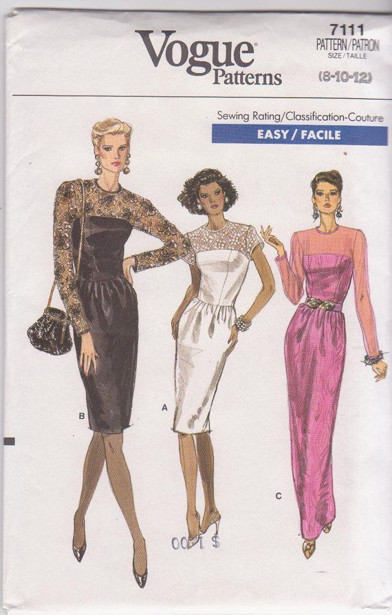 1980s vintage sewing pattern for special occasion cocktail