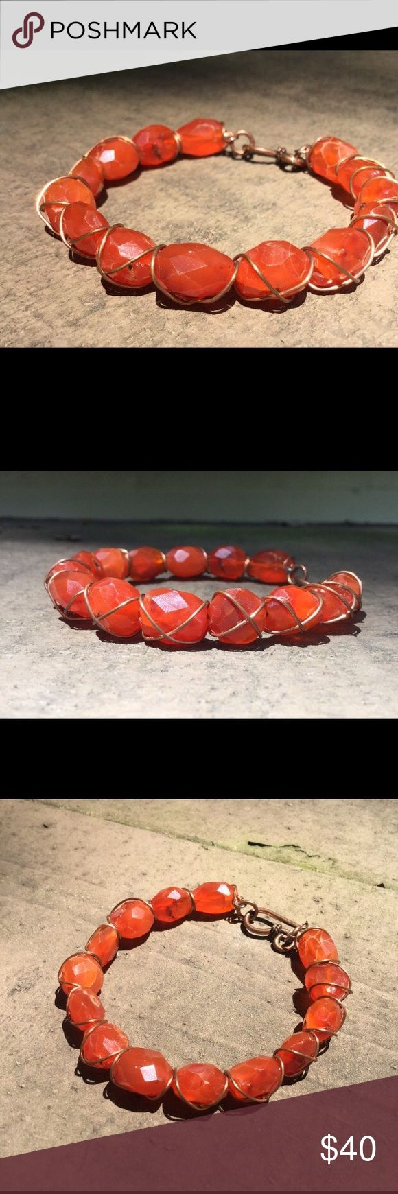 Carnelian gemstone bangle DETAILS - measures 7 inches in length - I have added a large lobster claw clasp for easy fastening. Kind Designs Online Jewelry Bracelets