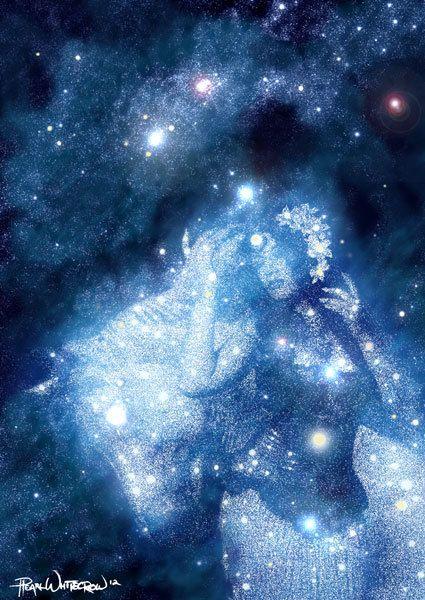 Star Art Goddess Epona Celestial Art In Indigo And Blue
