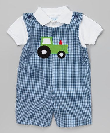 Look what I found on #zulily! Blue Tractor Layered John Johns - Infant & Toddler by Monday's Child #zulilyfinds