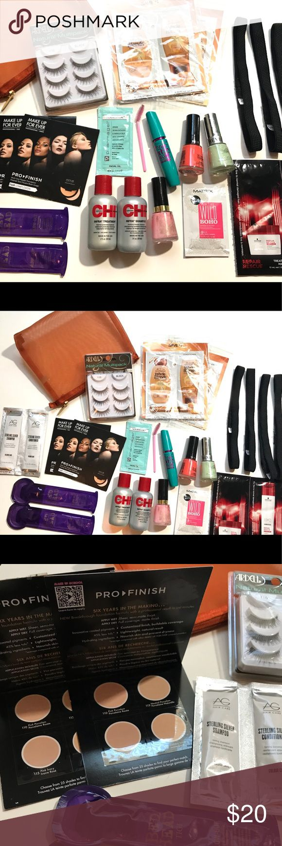 Beauty Bundle Beauty Bundle includes: carrying case in orange, 3 sets of Ardell Lashes, 2 Garnier Whole blends shampoo&conditioner packets, AG silver toner shampoo and conditioner packet, 2 Makeup Forever Pro Finish Powder, Pharmagel face oil packet, Mega Lush Volume Mascara, 3 Revlon Nail Polishes, 2 Bed Head Shine Creams, CHI shampoo and Treatment bottles, 4 Goody headbands, Matrix air dry cream packet, and Schwarzkopf shampoo and repair rescue packets. All Brand New!!! Revlon Makeup False…