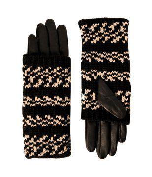 Gants en cuir femme imprimé noir - Promod 29,95€