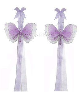 Butterfly Tiebacks Purple (Lavender) Multi-Layered Nylon Butterflies Tieback Pair / Set Decorations - Curtains Holder Holders Tie Backs to Decorate for a Baby Nursery Bedroom, Girls Room Wall Decor, Wedding Birthday Party, Bridal Baby Shower, Ceiling Decoration by Bugs-n-Blooms. $11.95. This gorgeous 3D butterfly tieback set is embellished with sequins, glitter and has a beaded body.. Has 2 thick color matched organza ribbons to wrap around the curtains. Visit our Amazon store f...