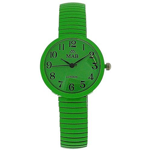 Mab London Bright Green Dome Shaped Dial Ladies Expander Strap Watch EXPS16
