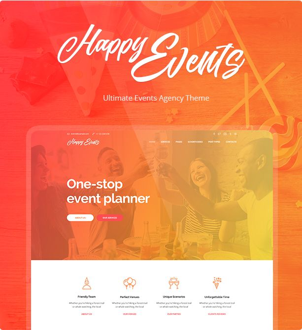 Download Happy Events  Holiday Event Agency & Planner Events WordPress Theme (Events)  Happy Events  Holiday Event Agency & Planner Events WordPress Theme  Happy Events is a fascinating events wordpress theme for events agency that can work as an events planner to manage holidays special events and celebrations. Powerful functionality lets you display services of your events agency and create a website with attractive appearance and fancy design. Woocommerce functionality lets you sell…