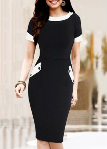 Short Sleeve Pocket Design Black Pencil Dress | modlily.com