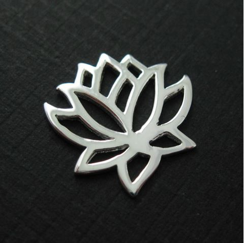 Sterling Silver Lotus Flower - Lotus Flower Connector ( 2 pieces)