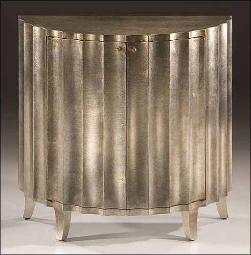 Hand Painted Fluted Cabinet With Antiqued Crackled Silver Finish, Two Doors  And One Shelf