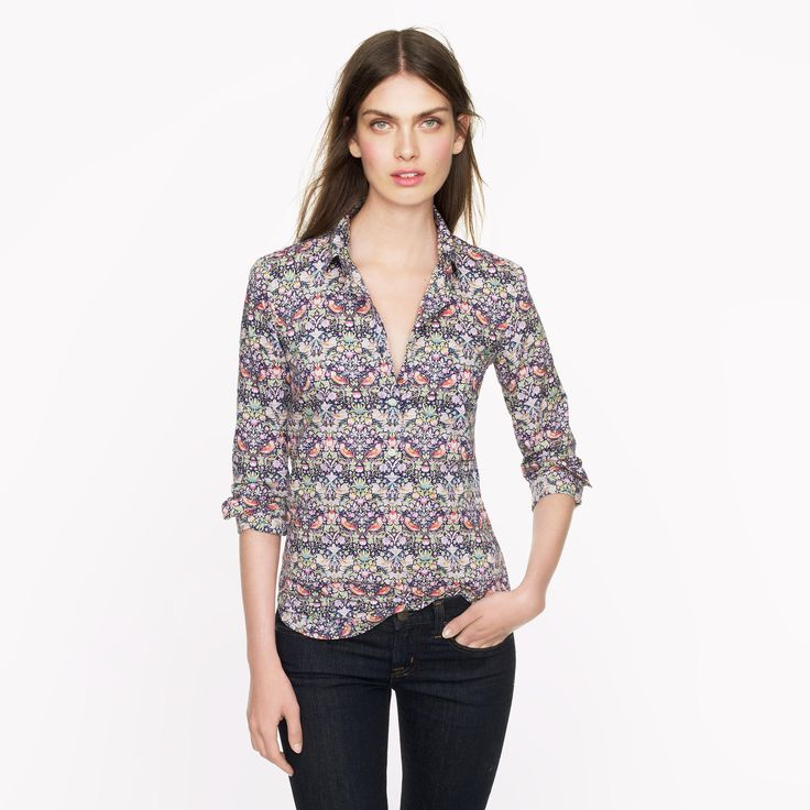 Liberty Popover in Strawberry Thief Floral | J.Crew