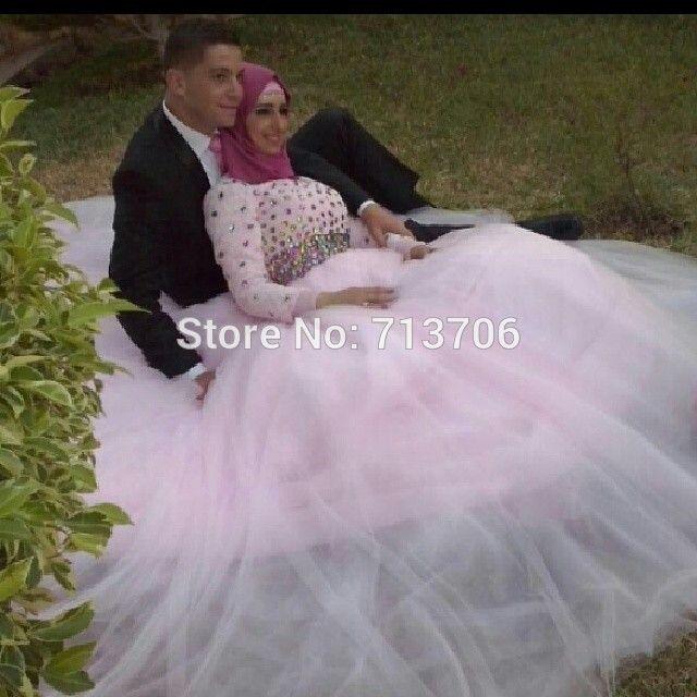 Мусульманских женщин бальное платье с длинным рукавом розовые свадебные платья длинные тюль стразы вечерние платья W022223