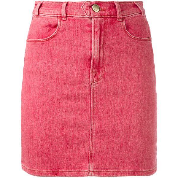 Frame Denim retro denim skirt ($225) ❤ liked on Polyvore featuring skirts, red, denim skirt, red denim skirt, red skirt, red knee length skirt and retro skirts