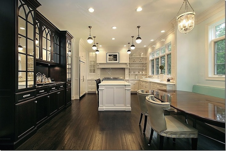 white black dream kitchen design with glossy black built in buffet