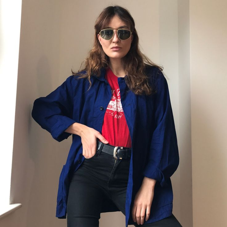 🎉🎉CYBERMONDAY🎉🎉Love love this military over- shirt in deep kings blue. This is very popular this winter along with all the other military style garments seen in store. Buttons running down, with a collar, two big pockets on each side. This looks fab with a fun 70's print shirt under, this jacket over hanging loose, with slim denims with chunky belt and pointy Chelsea boots. This will fit size M more oversized and more fitted on L and XL. Postage included 🎉🎉 @depop #cybermonday