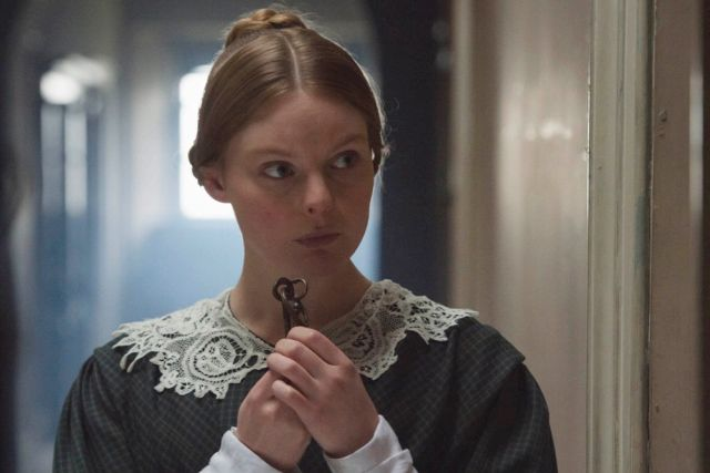 Skerrett - Nell Hudson Skerrett - loosely based on a real-life member of Buckingham Palace's serving staff – mysteriously appears soon afer the accession with a recommendation from the Chiswick Institute. She is to become assistant to Jenkins, the Queen's prickly personal dresser. Outlander fans will recognise her!