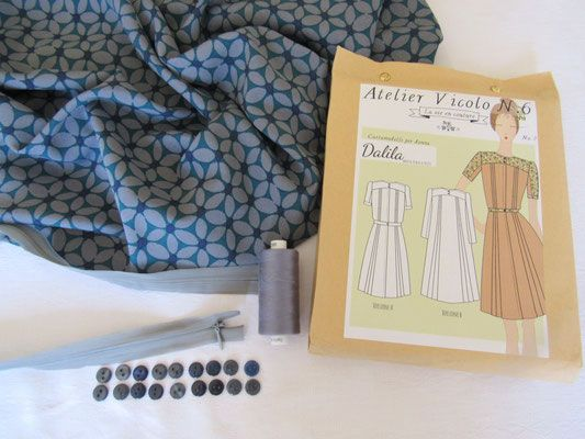 Dalila :  Kit di cucito  - Kit couture - Sewing kit - Atelier Vicolo N° 6 Cartamodelli ~ Patrons de couture