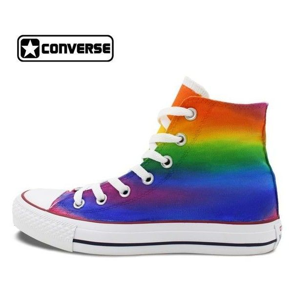 Gradual Colorful Rainbow Converse Chuck Taylor Men Women Shoes High... ❤ liked on Polyvore featuring men's fashion, men's shoes, men's sneakers, mens rainbow shoes, converse mens sneakers, mens high top shoes, mens black hi top sneakers and mens sneakers