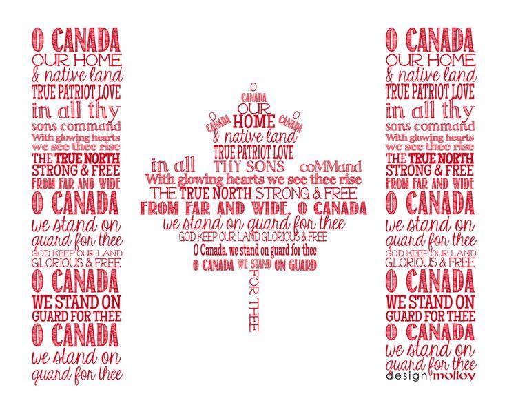 O Canada National Anthem Flag Word Art Print by DesignMolloy