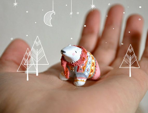 Miniature Polar Bear Figurine Animal Sculpture, Animal Totem - polymer clay, painted, varnished.