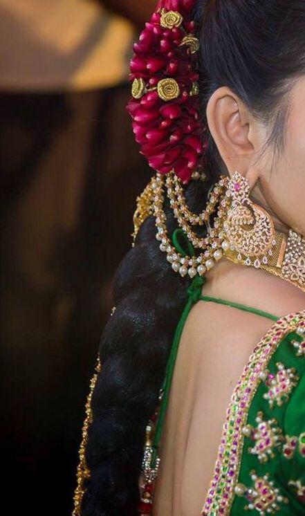 Diamond earrings and champa swaralu