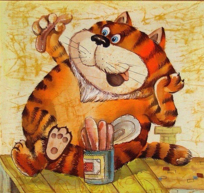 Картинки с рисованными котами прикольные