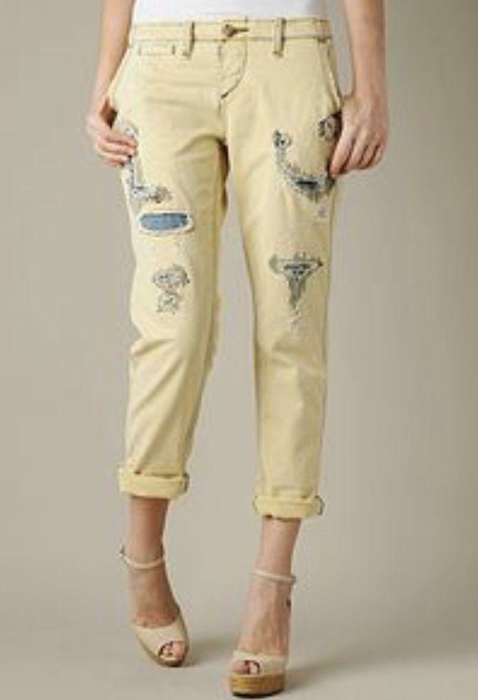 9fe818e169c9 True Religion Womens Jordan Jeans 27 28 29 Yellow Crop Capri Distressed  Pants