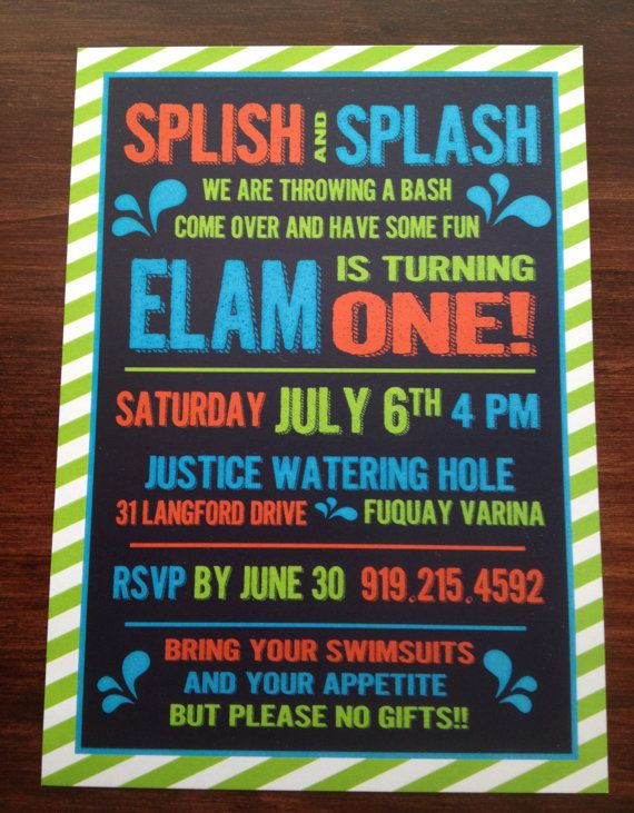Water Themed Birthday Invitation Pool Party Invitation by BonBini