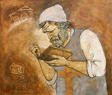 Domenico Scandella, detto Menocchio, diminutivo popolare di Domenico (Montereale Valcellina, 1532 – Pordenone, 1600 circa), fu un mugnaio friulano, processato e giustiziato per eresia dall'Inquisizione. La sua vicenda è stata resa nota dallo storico Carlo Ginzburg nel saggio Il formaggio e i vermi. Il cosmo di un mugnaio del '500, pubblicato nel 1976. [fonte Wikipedia] Qui nella rappresentazione di Alberto Magri.