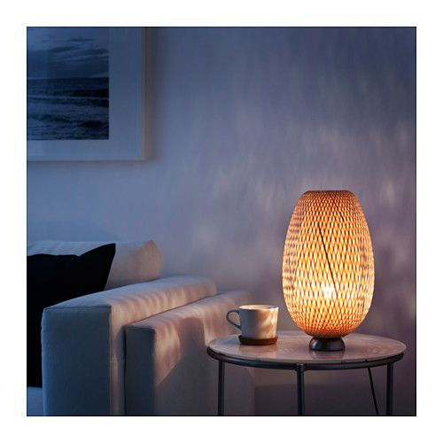 BÖJA Table lamp, nickel plated, rattan - nickel plated/rattan