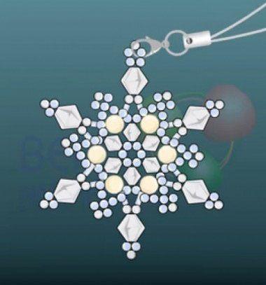 Beaded snowflake pendant or cell phone straps/ Hópelyhes függő vagy mobildísz gyöngyből (gyöngyfűzés) /  Mindy -  creative craft ideas
