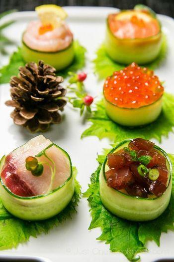 野菜でなくても、ホタテなどの周囲をベーコンでロールしたり、数種の野菜を牛肉でロールして調理し、最後に切って断面を見せれば本当にきれい!