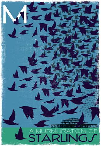 """Did you know: that a whole mess of European Starlings are known as a """"murmuration""""? For more rare words, such as a charm of finches, etc, see Woop Studio's website. £129.00"""