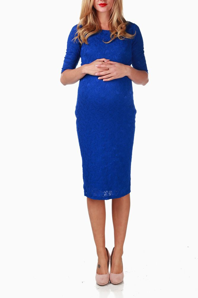 Blue-Lace-Maternity-Dress