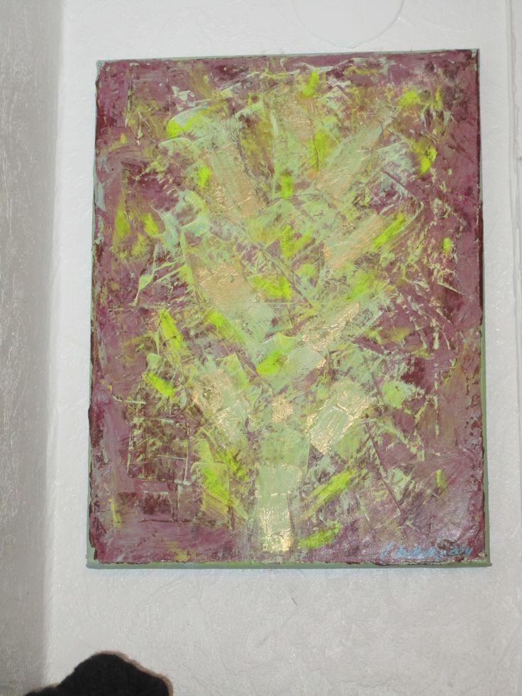 """My own painting: """"Gull og grønne skoger"""""""