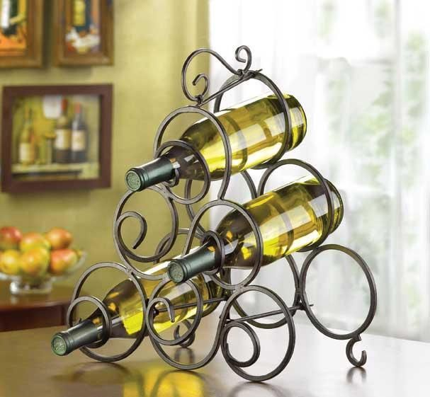 Wrought Iron Scrolls Tabletop Wine Rack. http://www.ebay.com/itm/Wrought-Iron-Scrolls-Tabletop-Wine-Rack-/271657165029